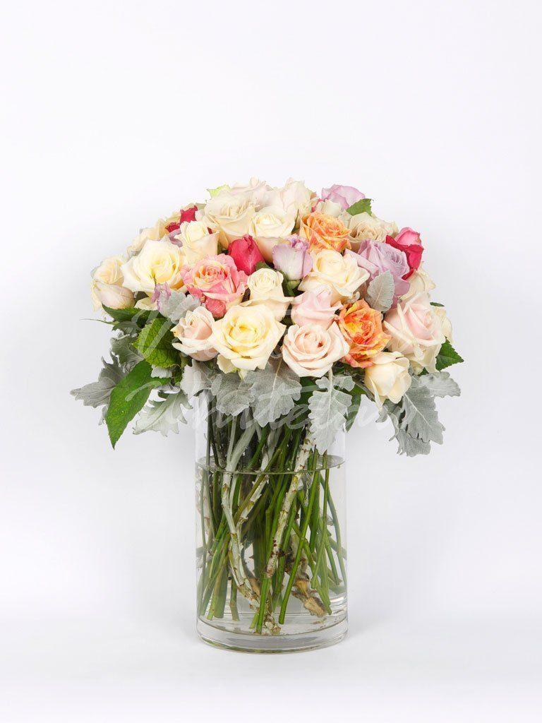 Medium Stemmed Roses Mixed Pastel Toorak